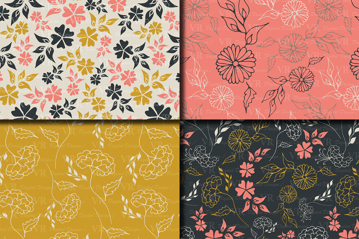 Seamless Elegant Floral Digital Paper with hand drawn flowers - Gray Gold Coral example image 2