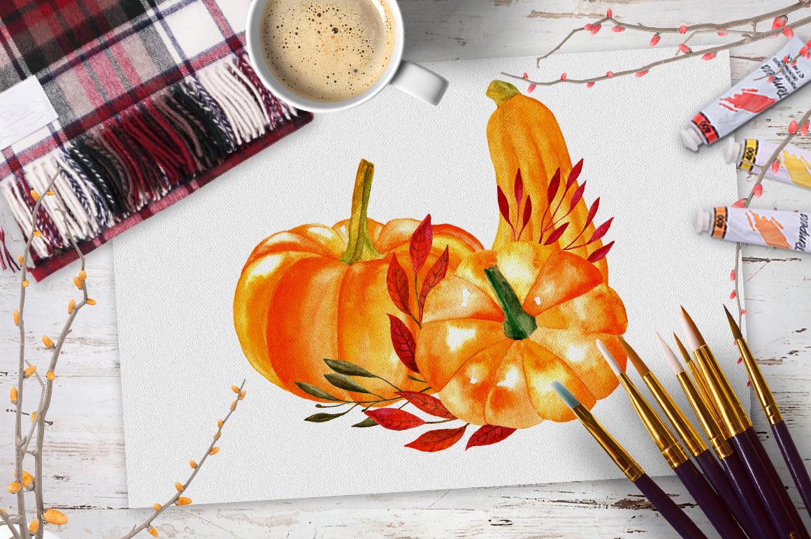 Watercolor pumpkin example image 3