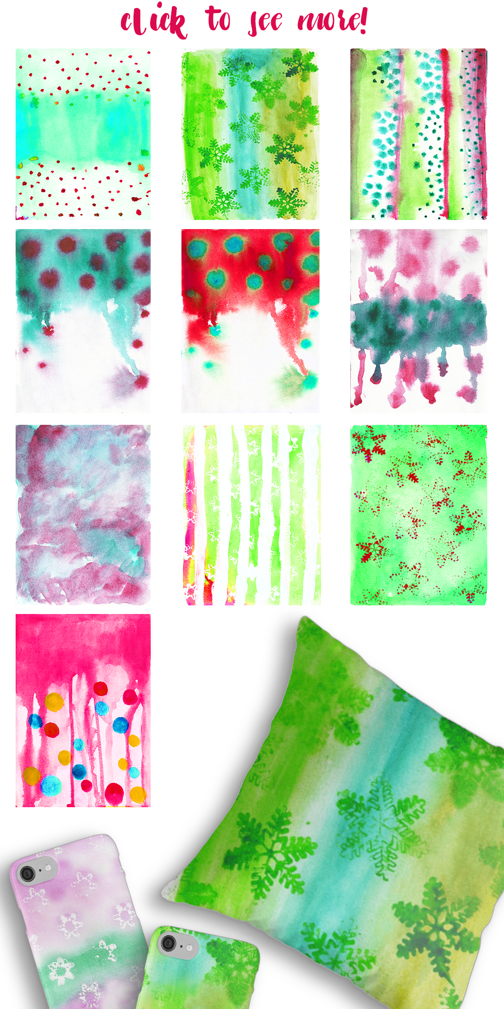 Watercolor Textures Kit - Christmas example image 6