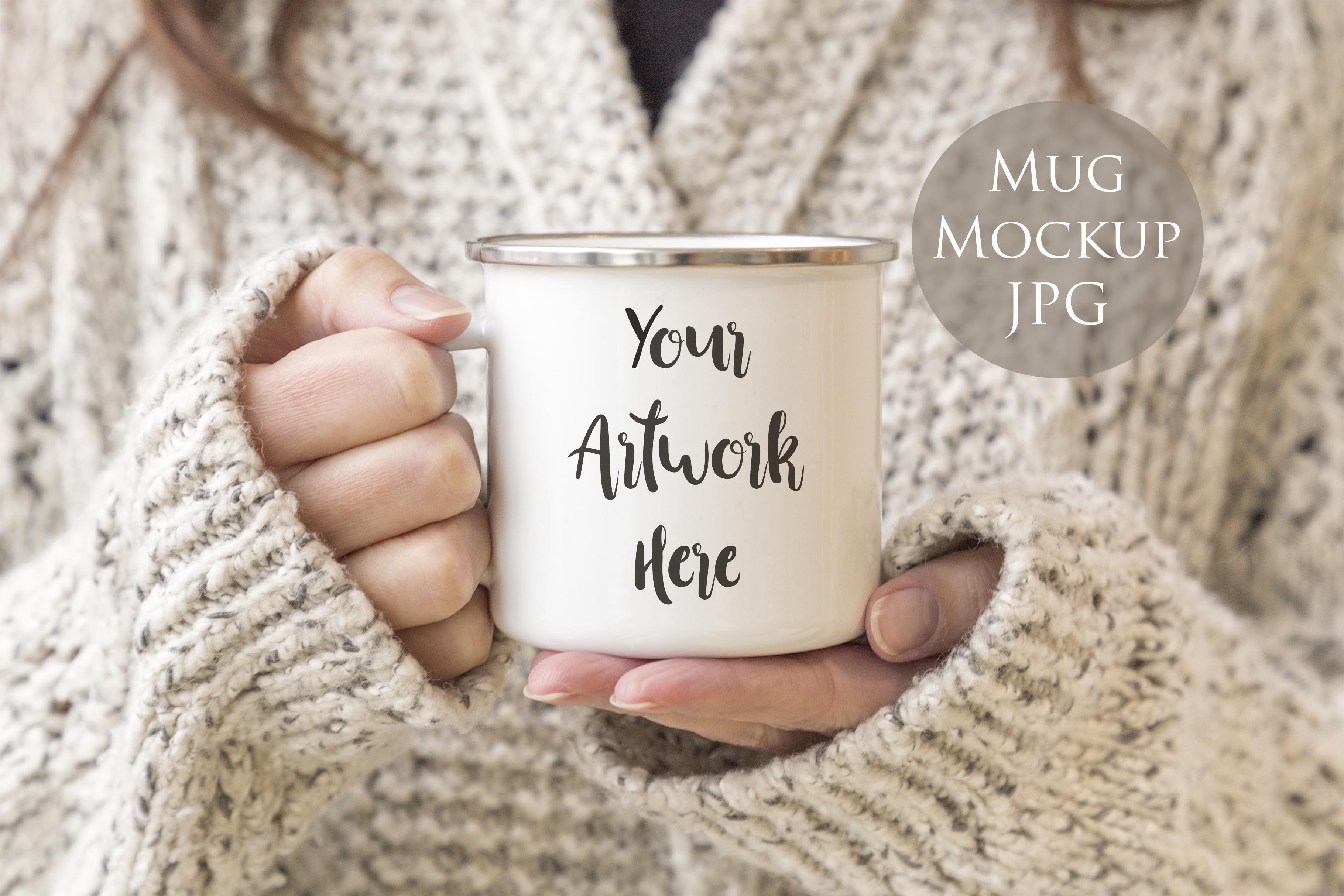 Enamel Mug Mockup Woman Holding Mug
