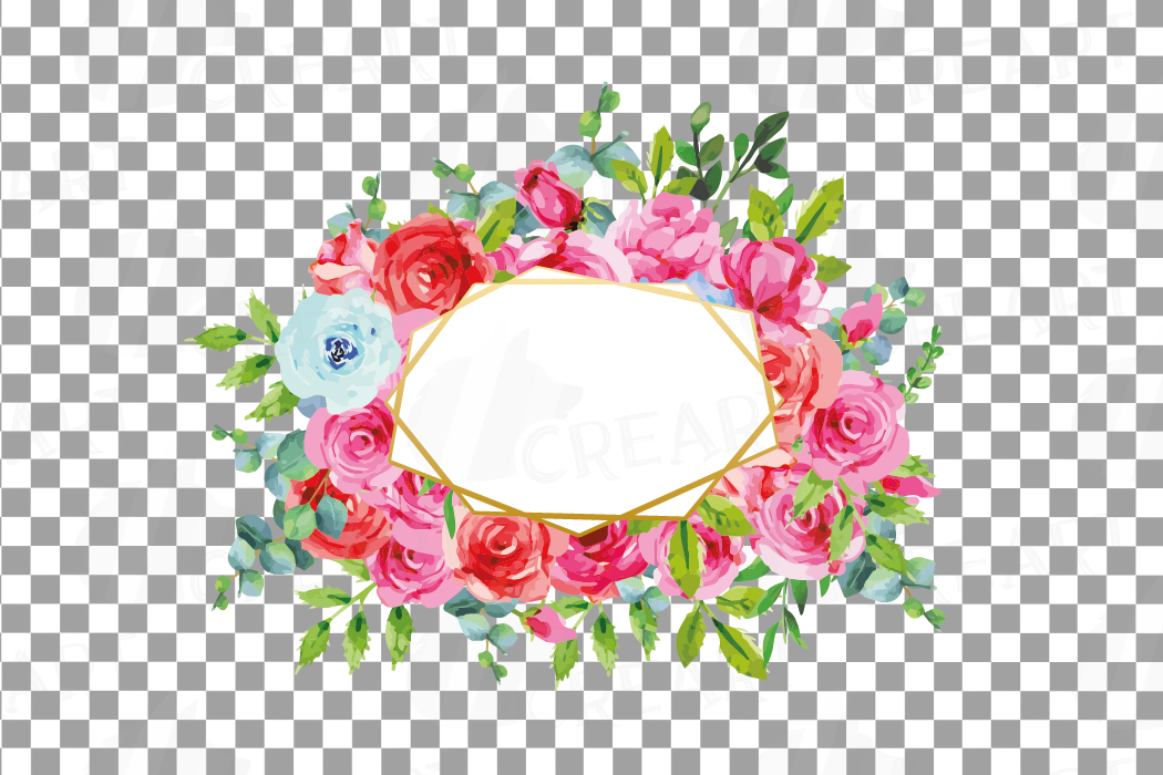 Boho pink and blue floral frames watercolor clip art pack example image 16