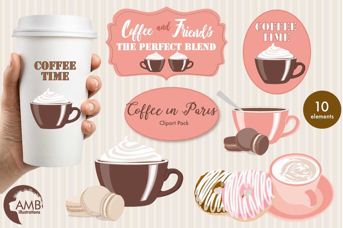 Coffee in Paris cliparts, graphics, illustrations AMB-1592 example image 1