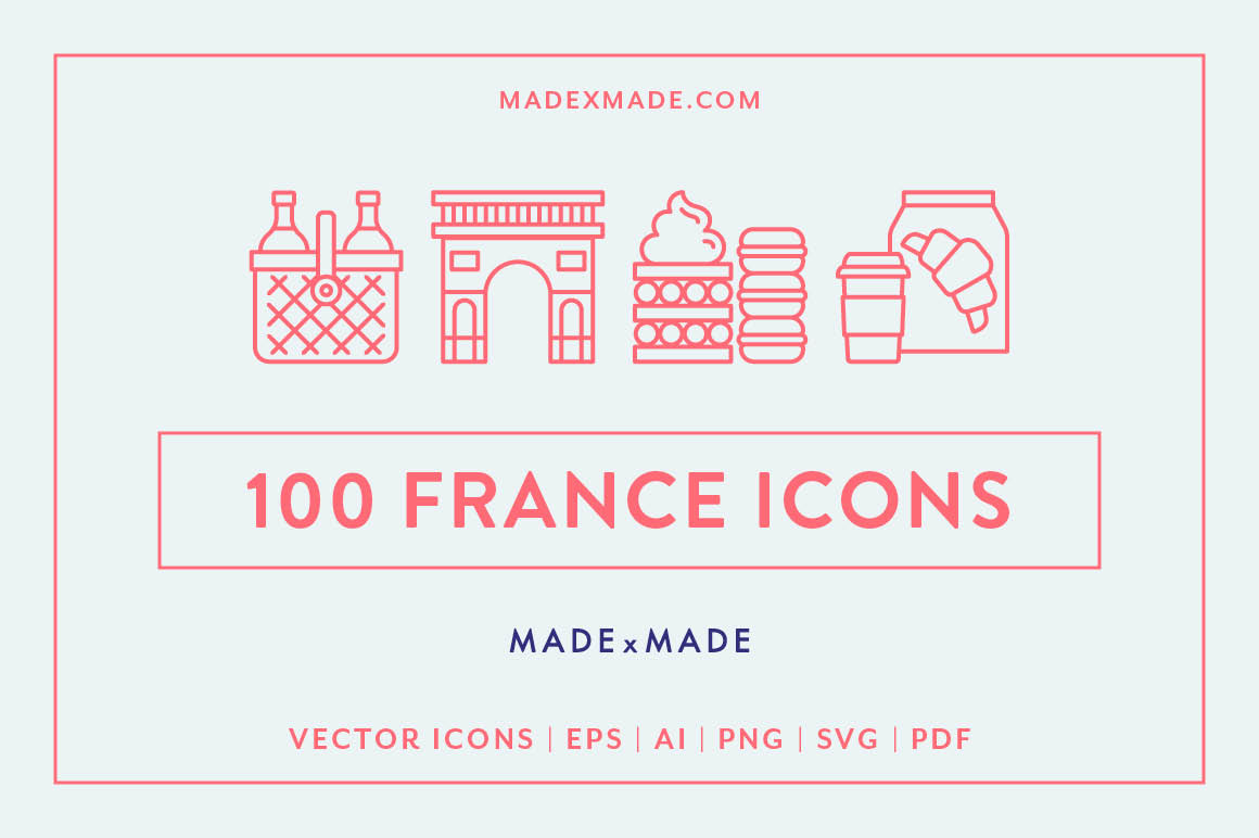 Line Icons - France example image 1