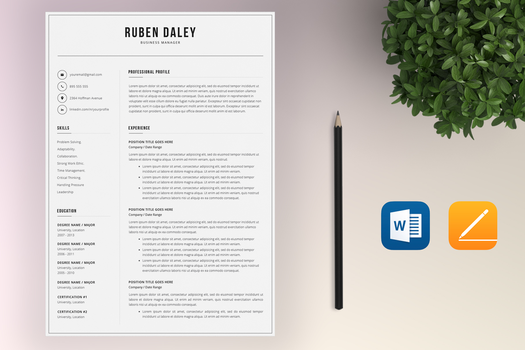 Resume Template Bundle | 4 Pages and Cover Letter example image 5