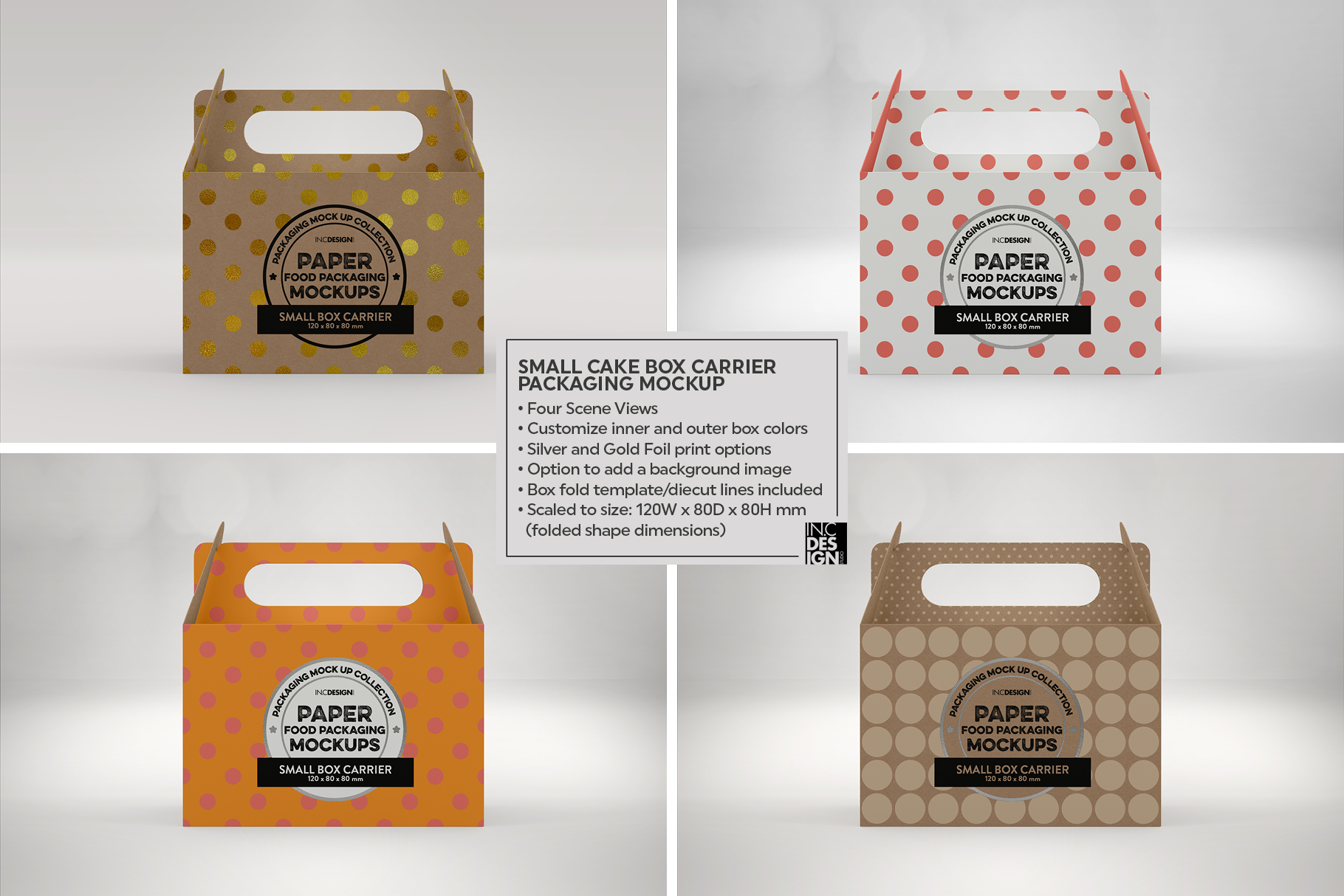 Small Cake Box Carrier Packaging Mockup example image 6