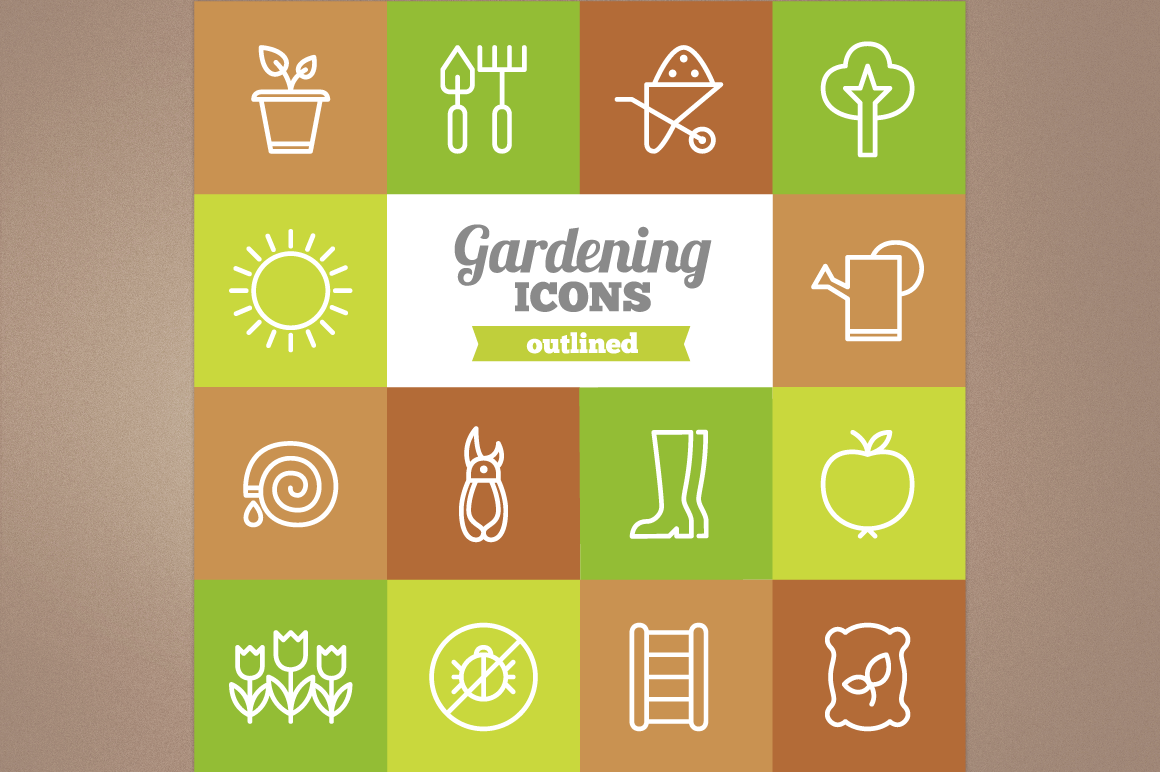 Outlined Gardening Icons example image 1