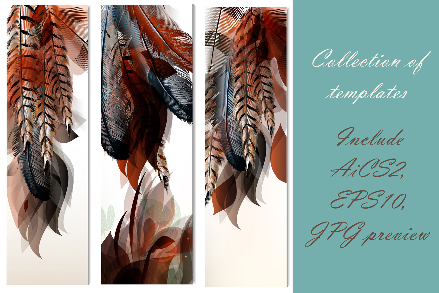 Colorful feather bundle. Vector illustrations and elements example image 11