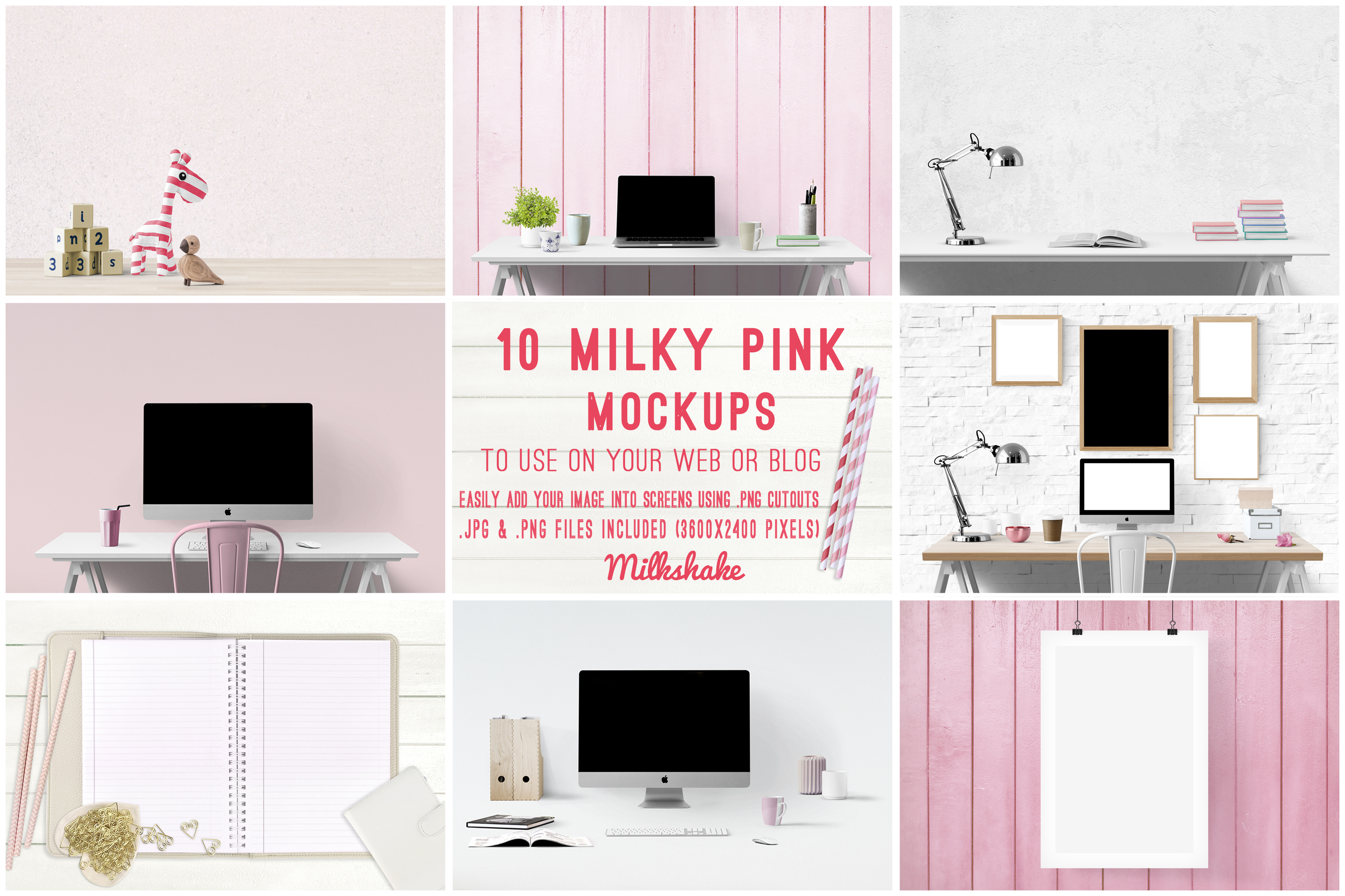 branding kit with pink backgrounds, pink mockups example image 7
