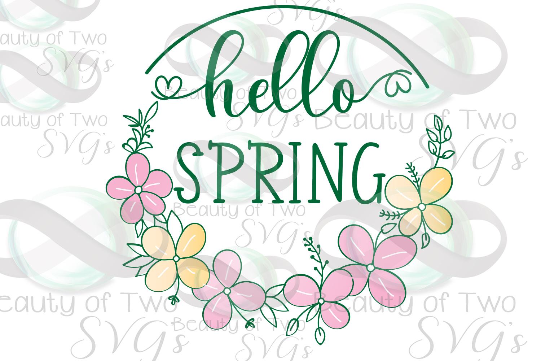 Hello Spring Wreath svg, Spring Flowers svg, Spring svg example image 2