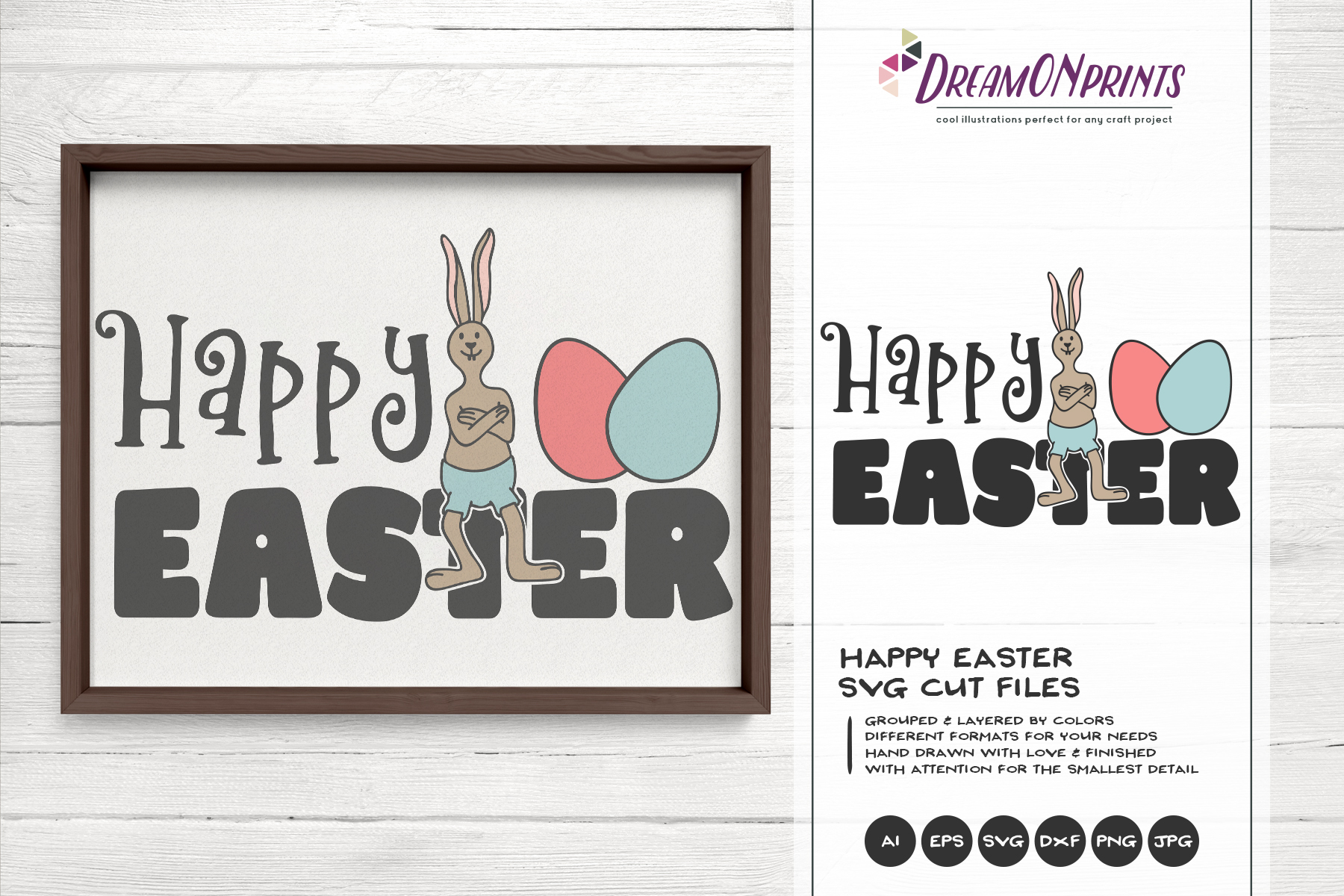 Happy Easter SVG - Easter Bunny SVG example image 1