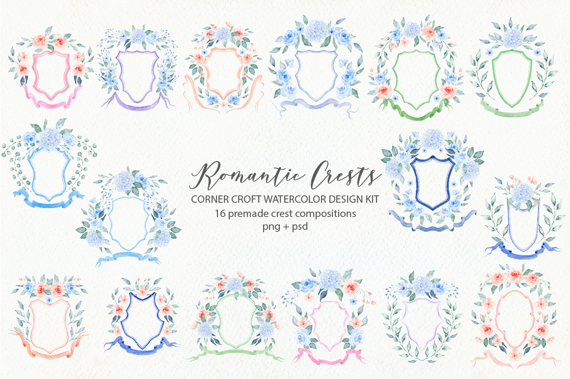 Watercolor Romantic Crest Design Kit example image 3