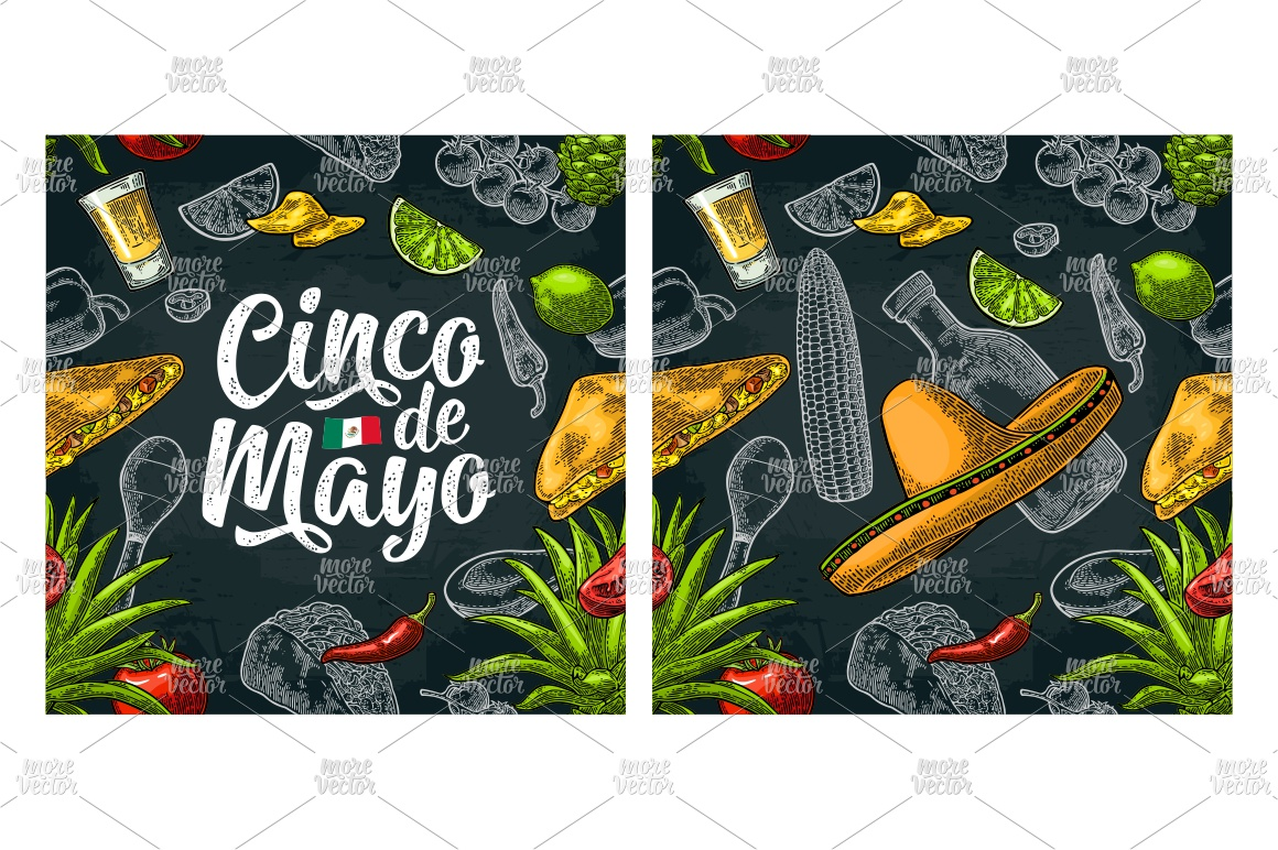 Cinco de Mayo lettering and mexican food. Vector engraving example image 5