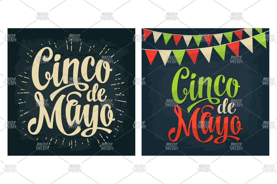 Cinco de Mayo lettering and mexican food. Vector engraving example image 8