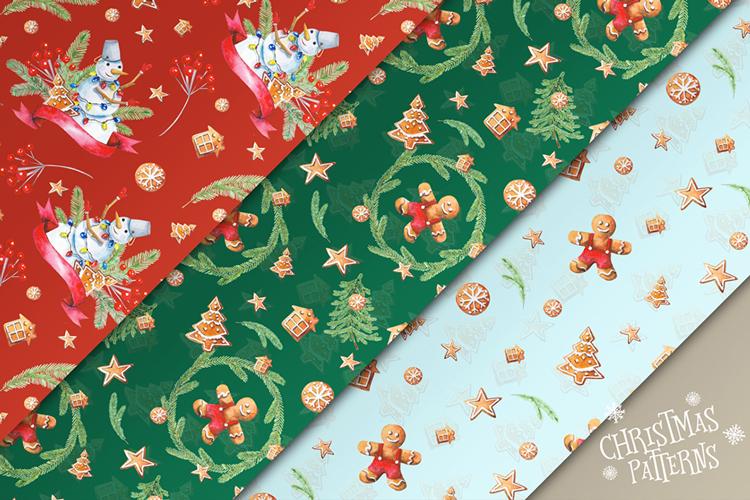 Christmas Watercolor Set example image 7