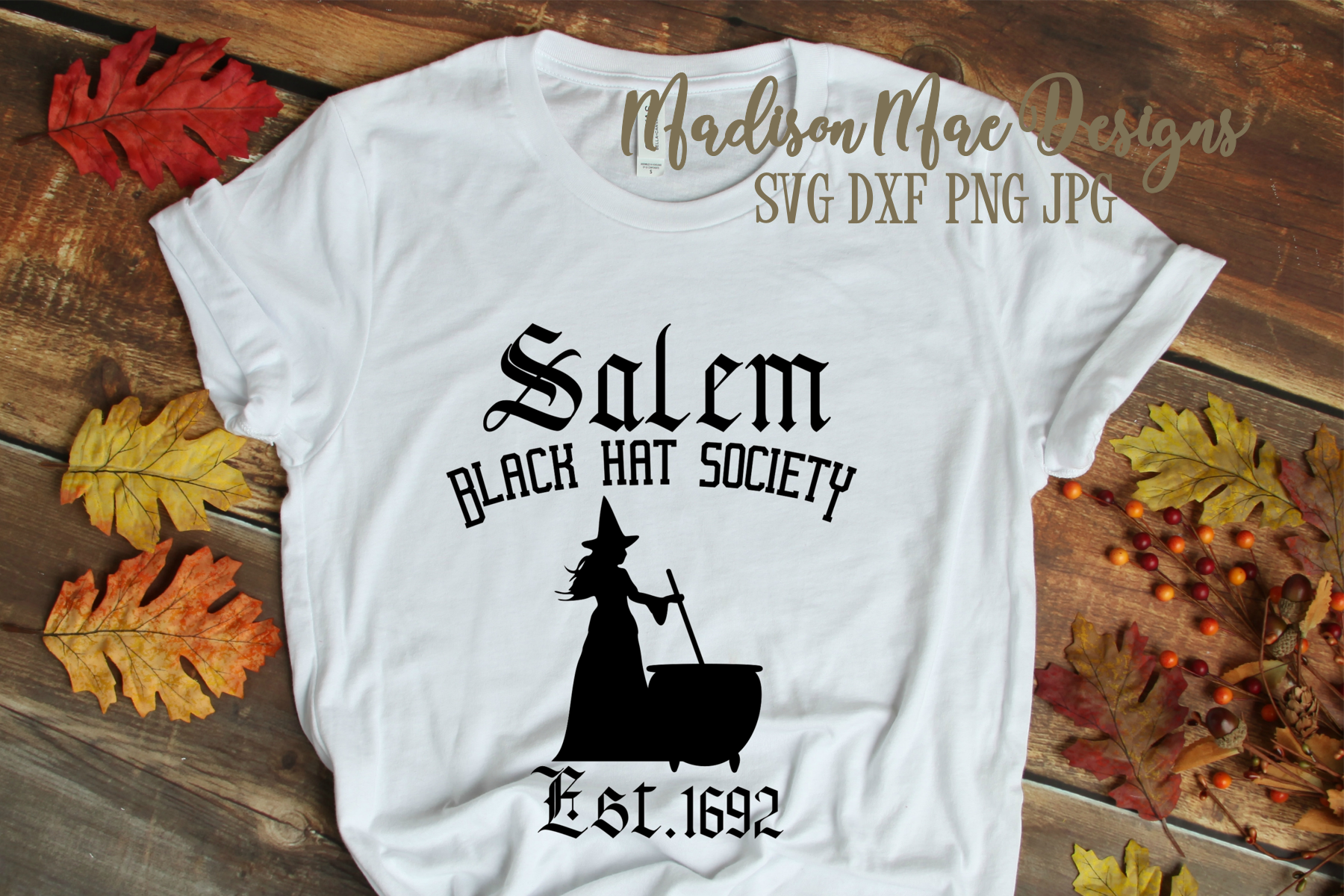 Witch SVG, Black Hat Society, Halloween Digital Cut File example image 2