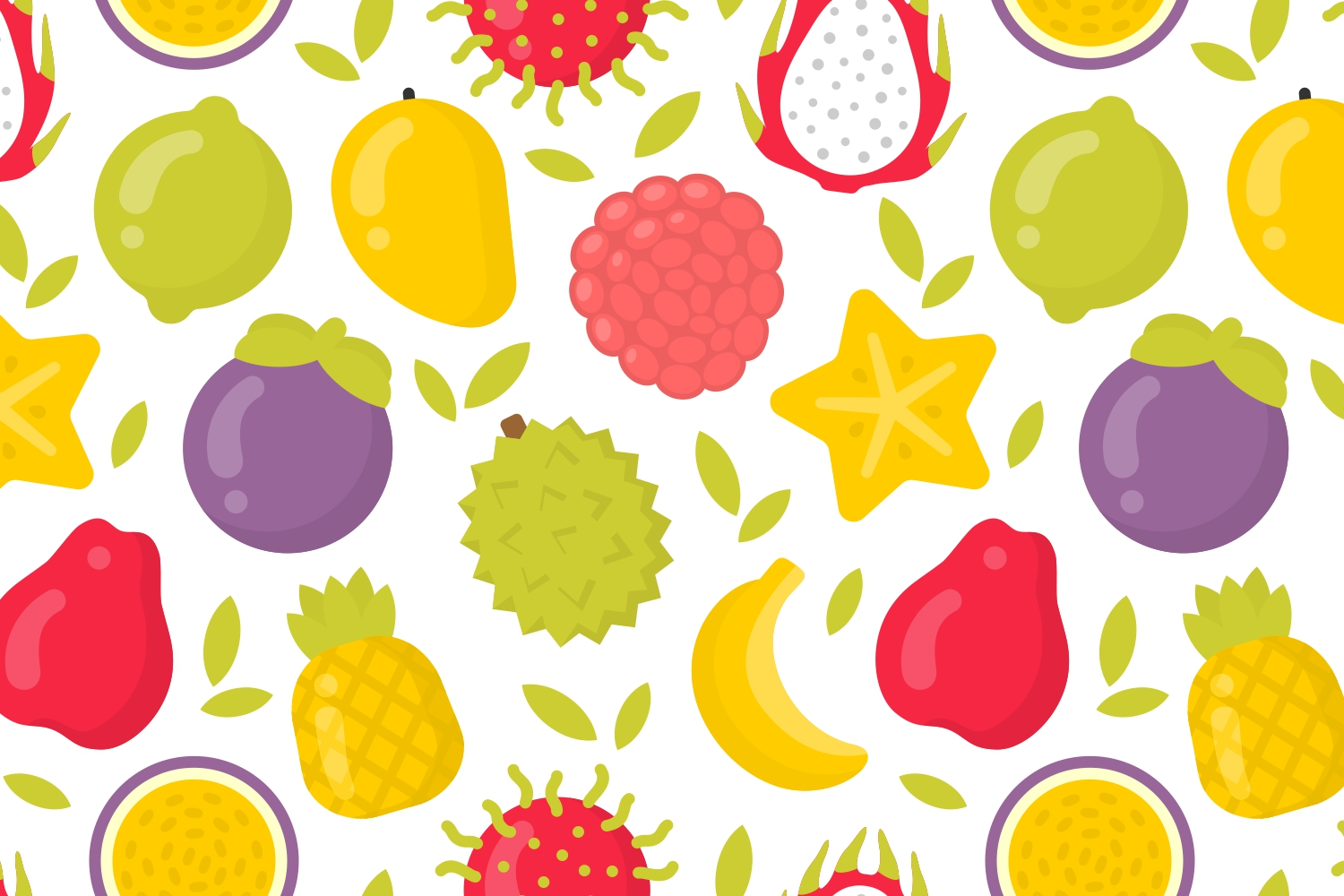 4 cute exotic fruits patterns example image 4