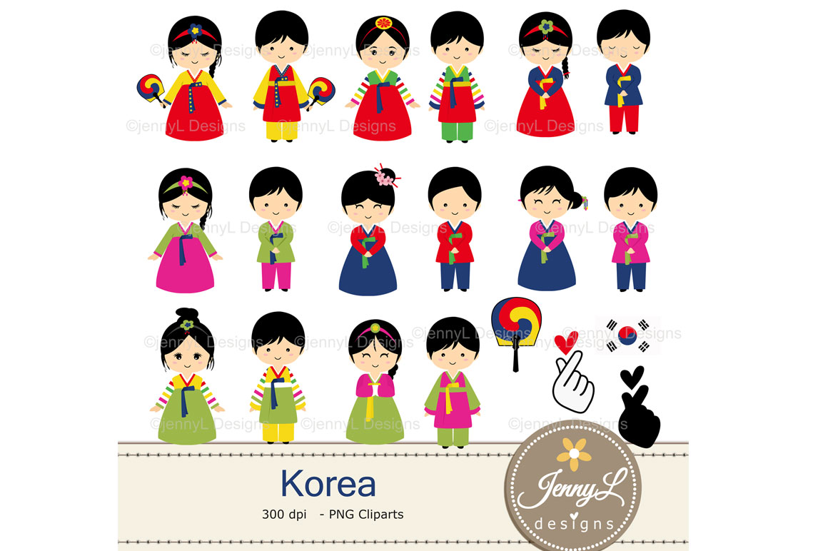 Korea Digital Papers and Korean Clipart example image 2