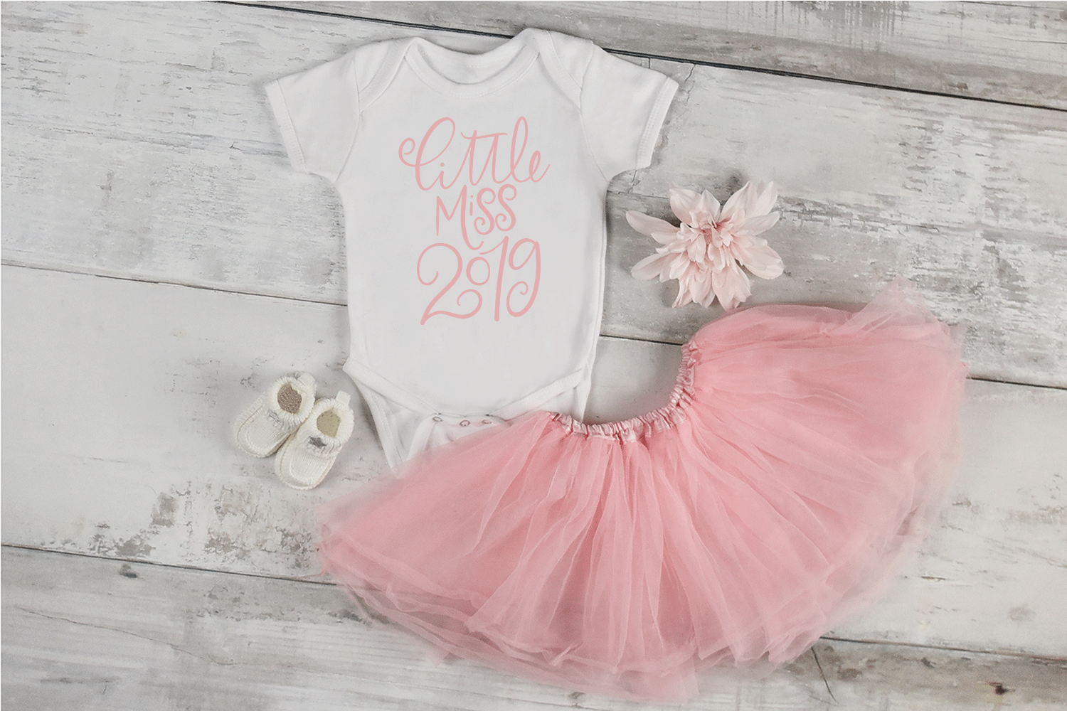 New Year SVG - Little Miss 2019 Hand-Lettered Cut File example image 2