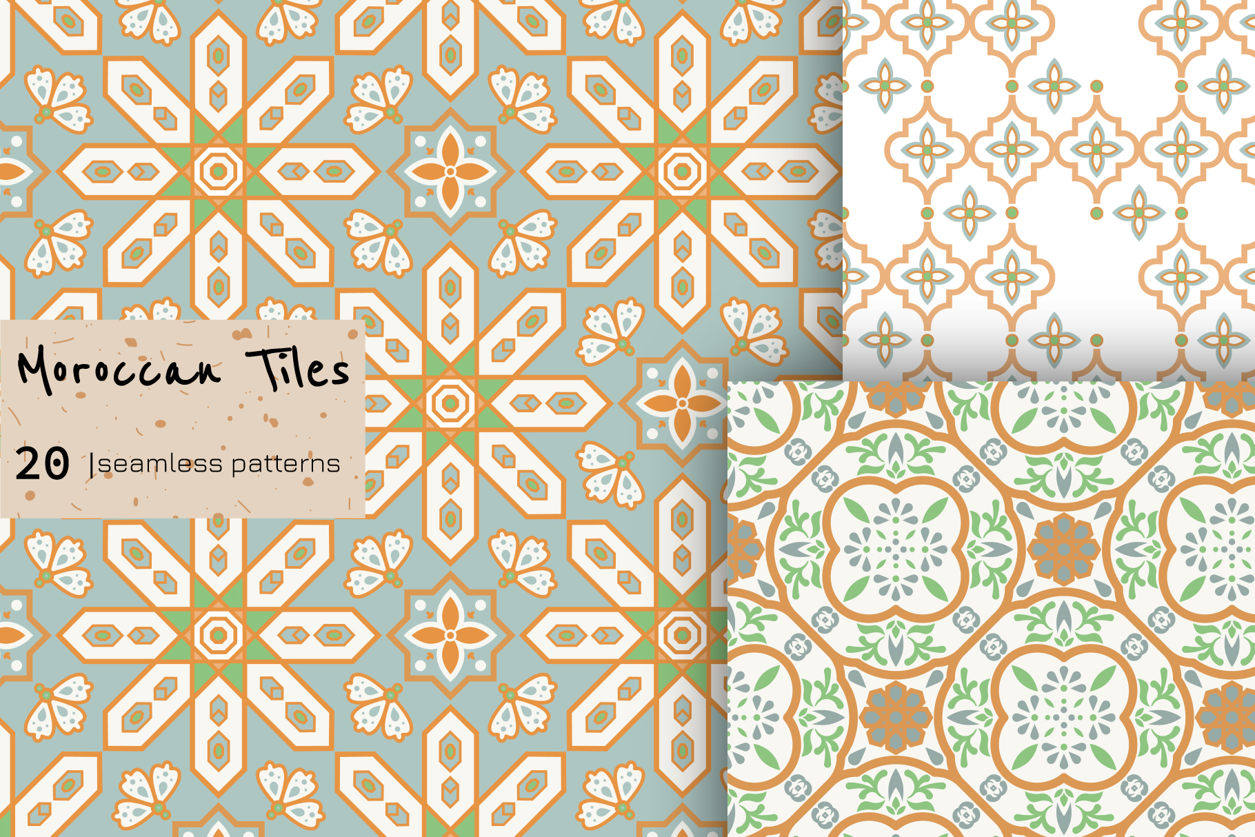 Moroccan Tiles - 20 patterns example image 2
