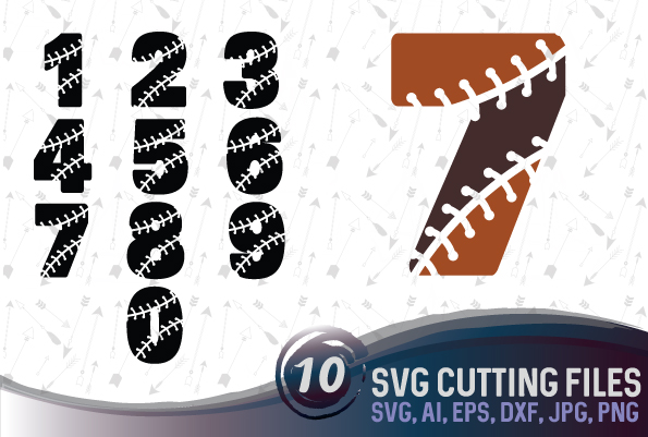 Baseball numbers - SVG, EPS, PNG, JPG, DXF, AI example image 1