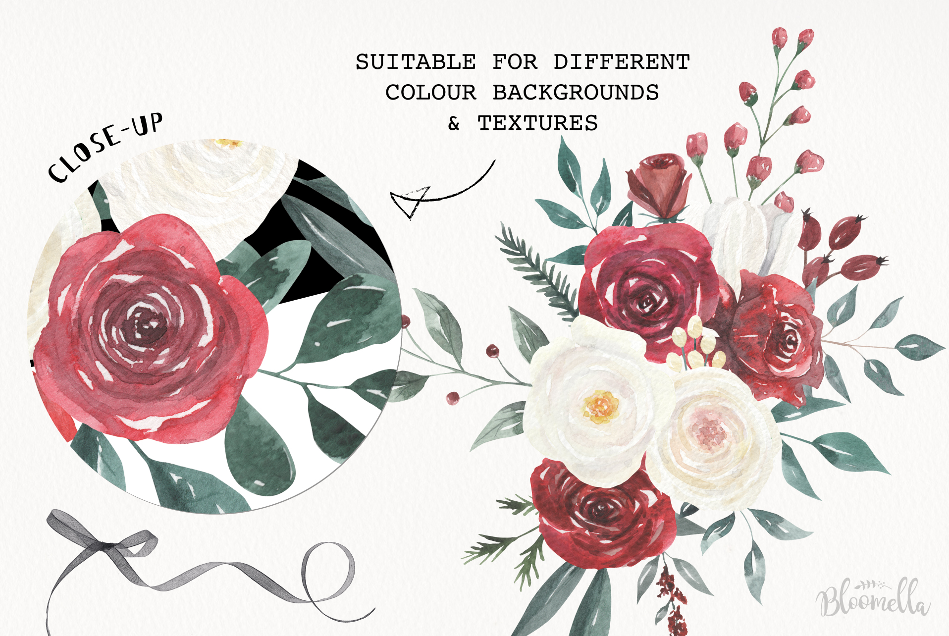 Watercolor Floral Deep Red Cream 10 Bouquets Flower Burgundy example image 7