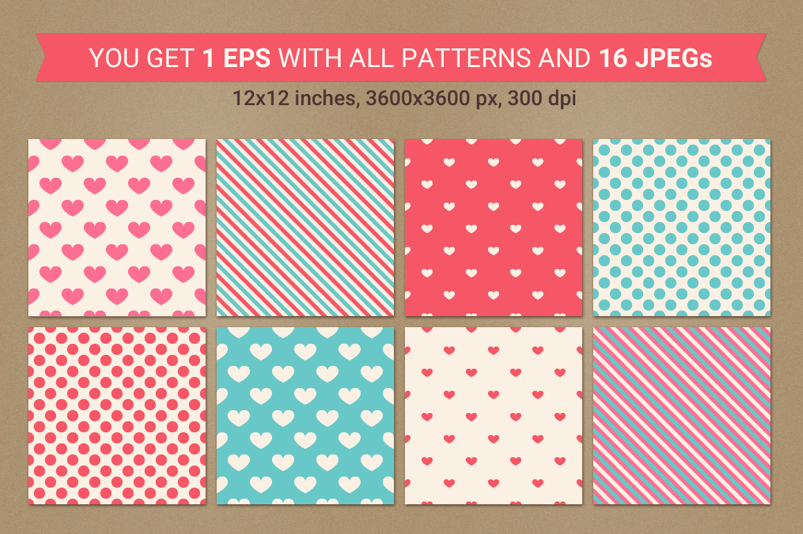 Valentine Seamless Patterns - Set 1 example image 2