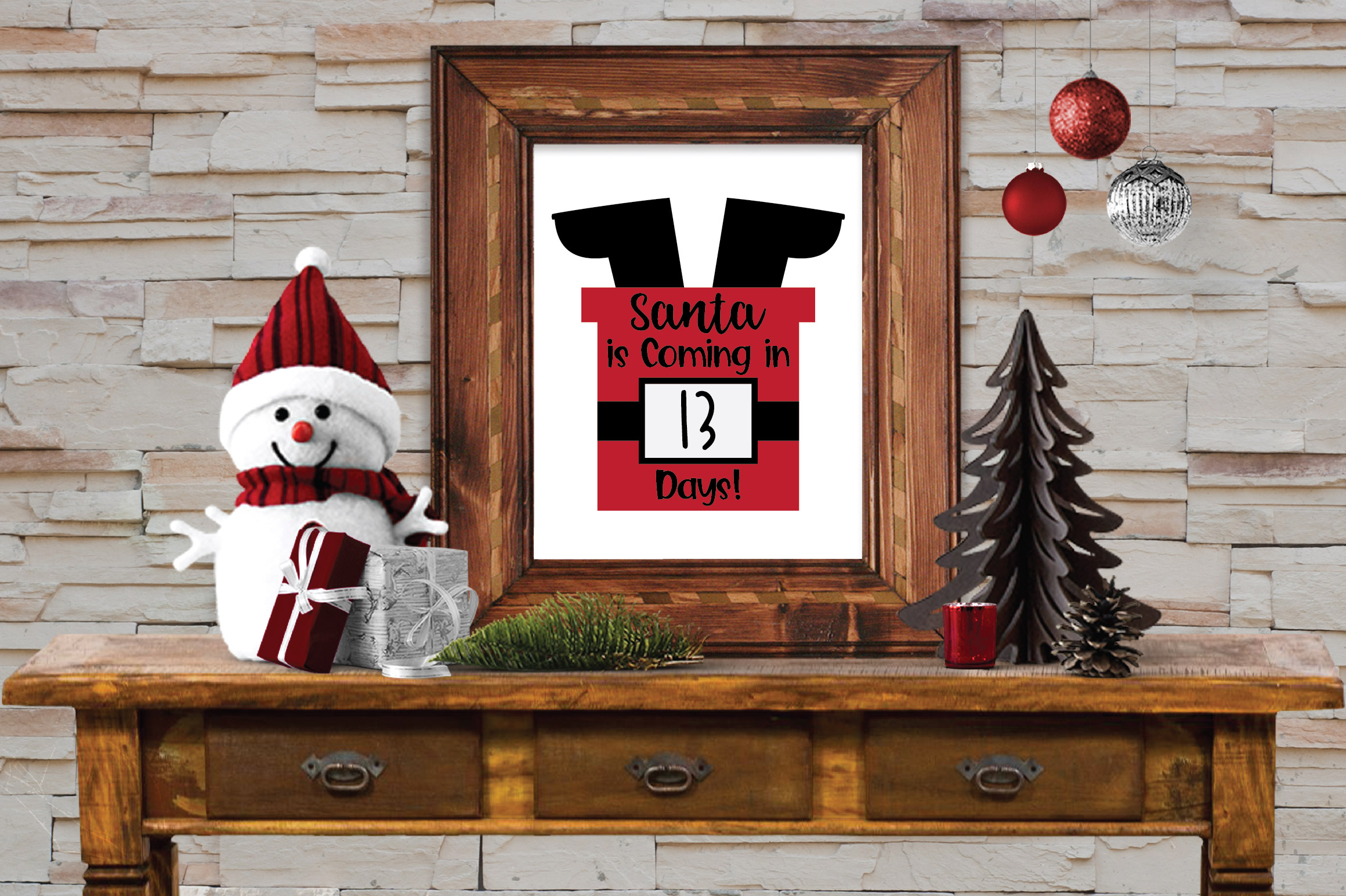Christmas Countdown SVG Cut File - Santa in Chimney SVG DXF example image 2