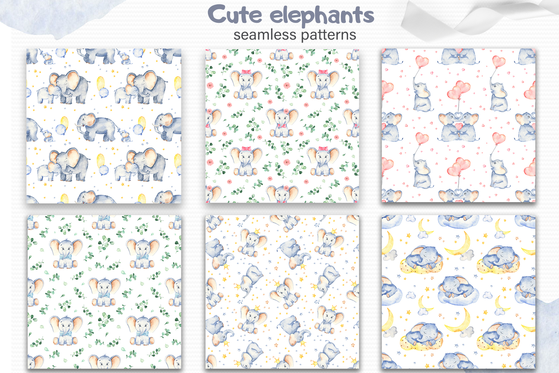 Cute elephants watercolor collection clipart example image 7
