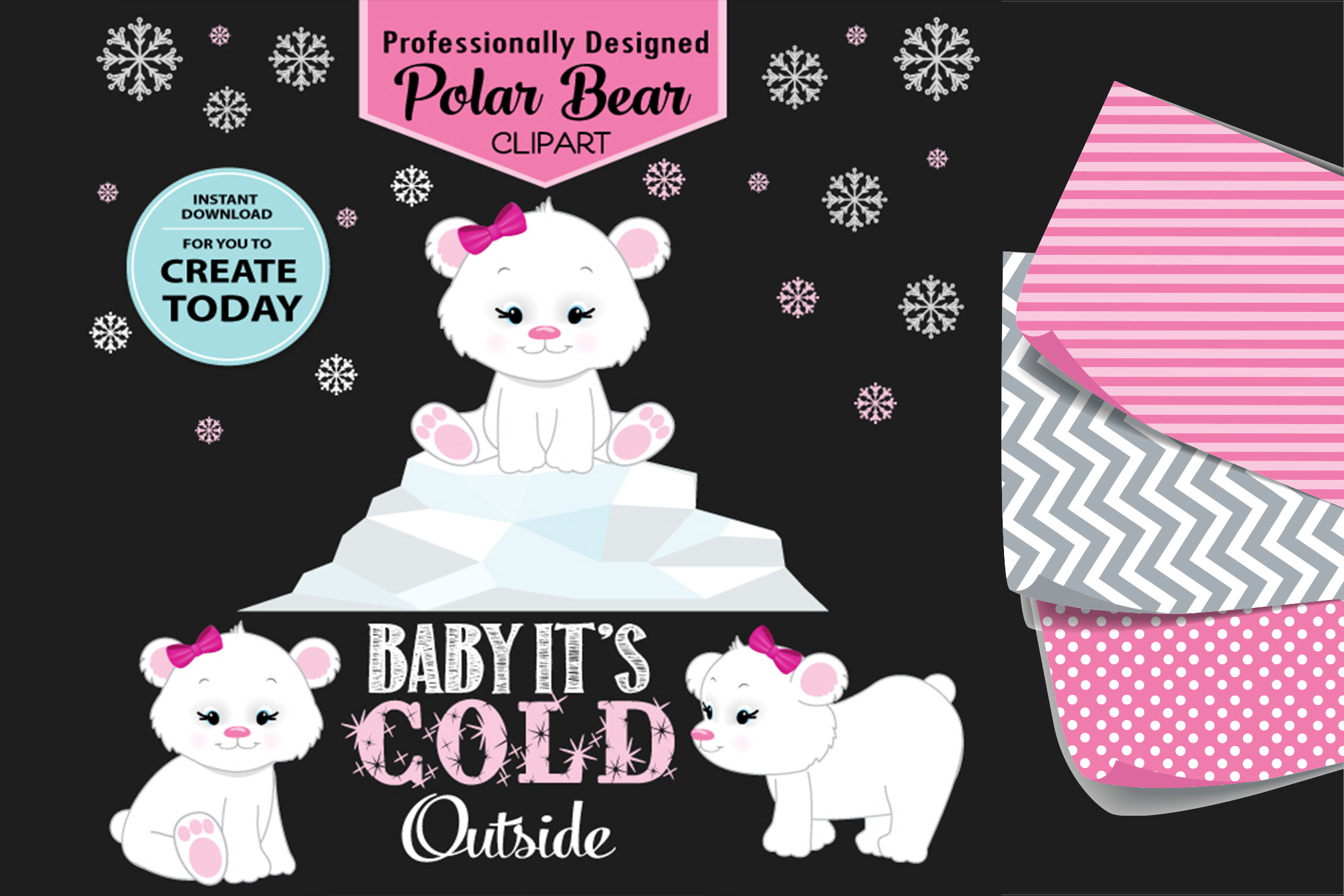 Pink and White Baby Girl Polar Bear Clip Art Design example image 1