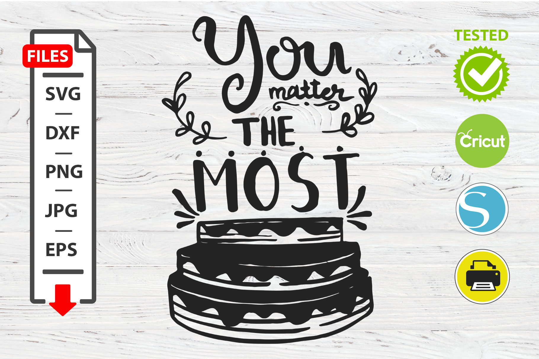 You matter the most motivational quote SVG Cricut Silhouette example image 1
