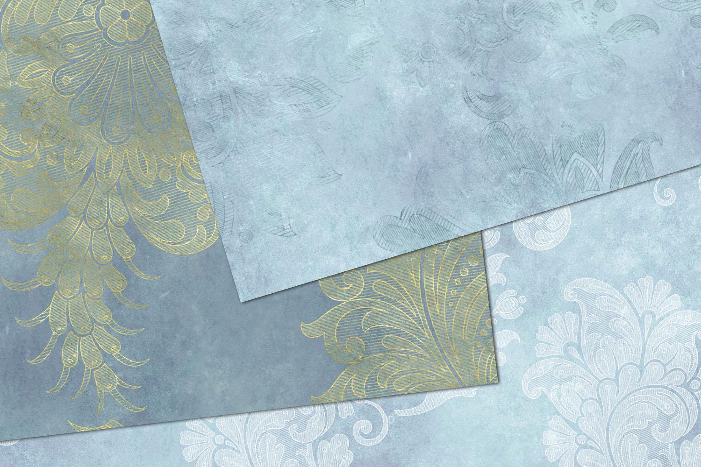 Blue Floral Velvet Digital Paper example image 2