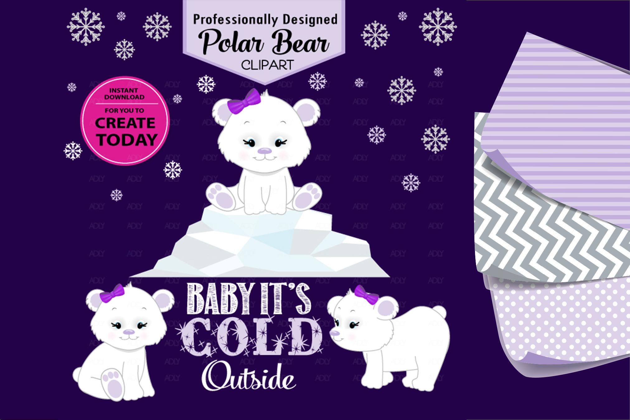 Purple White Baby Girl Polar Bear Clip Art Design for DIY! example image 1