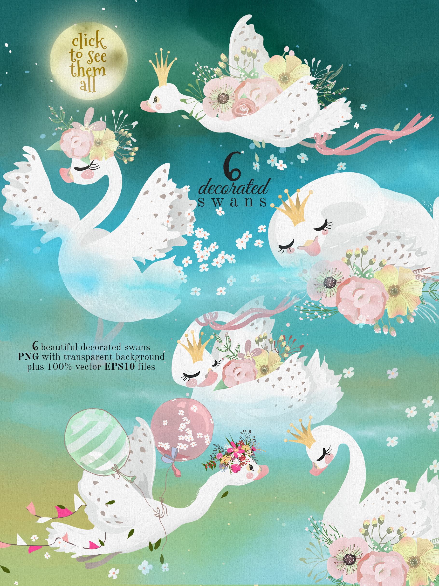 Romantic Swans Clipart example image 2