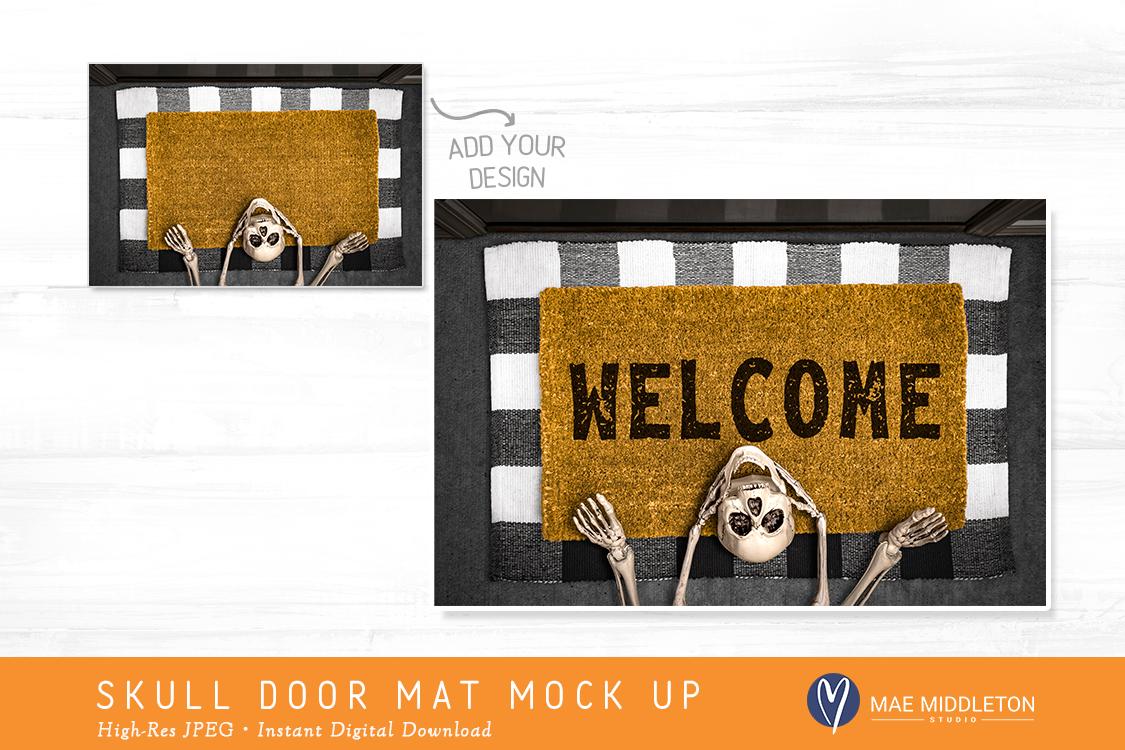 Halloween Skull Door Mat mock up example image 2