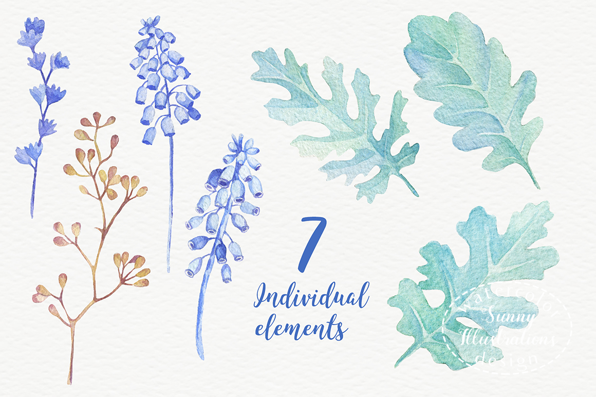 Watercolor leaves, berries, flowers example image 4