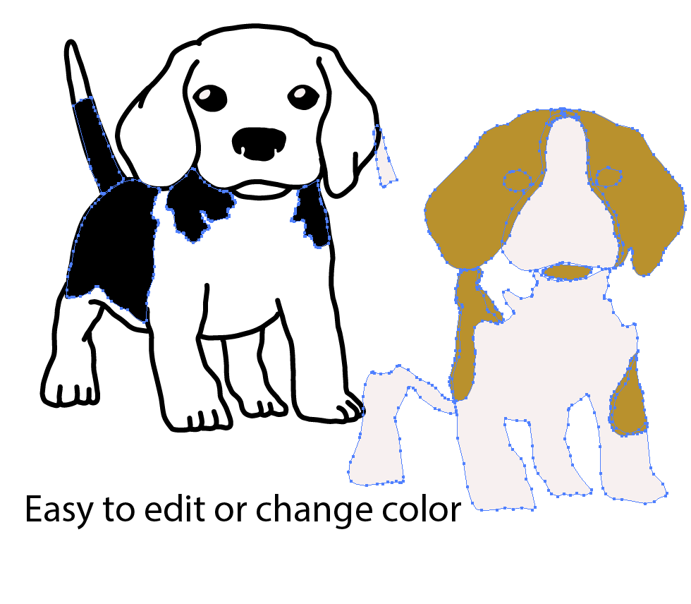 Cute Beagle Puppy Ready to play - Both outline and Color version - SVG/JPG/PNG Hand Drawing example image 3