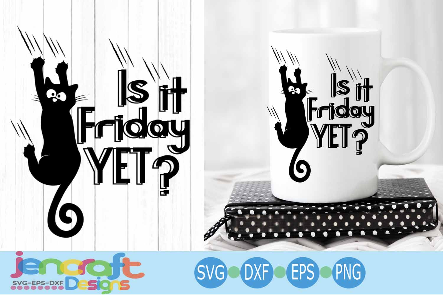 Is it Friday yet Black Cat svg, Hanging cat svg Funny Kitty example image 1