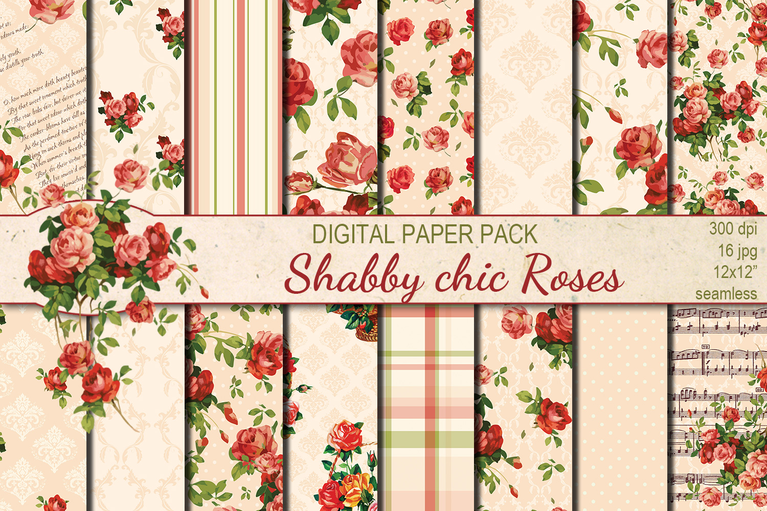 Shabby chic pink roses seamless digital paper pack example image 1