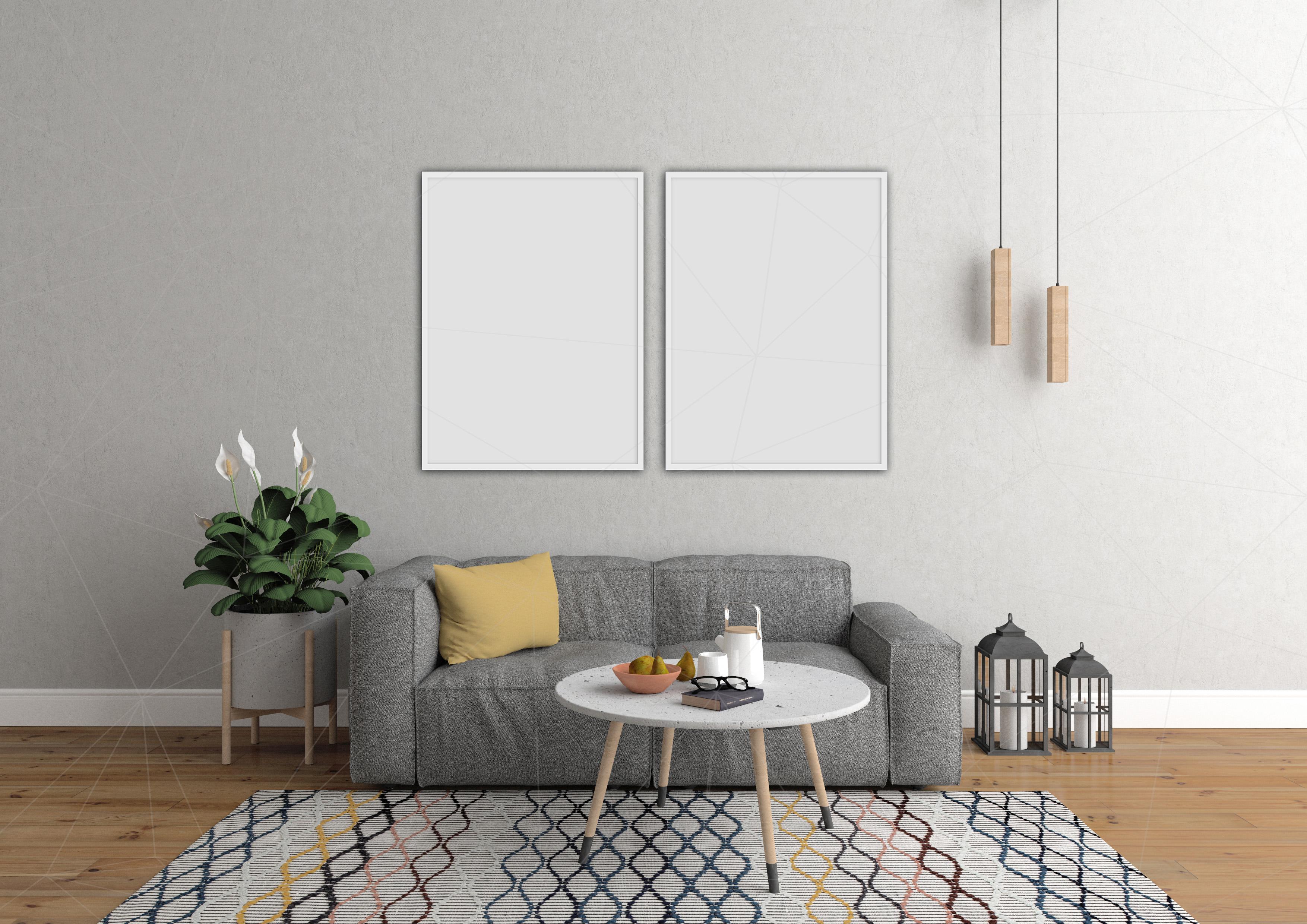 Interior mockup bundle - blank wall mock up example image 7