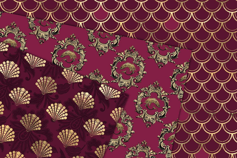 Burgundy and Gold Mermaid Digital Paper example image 2