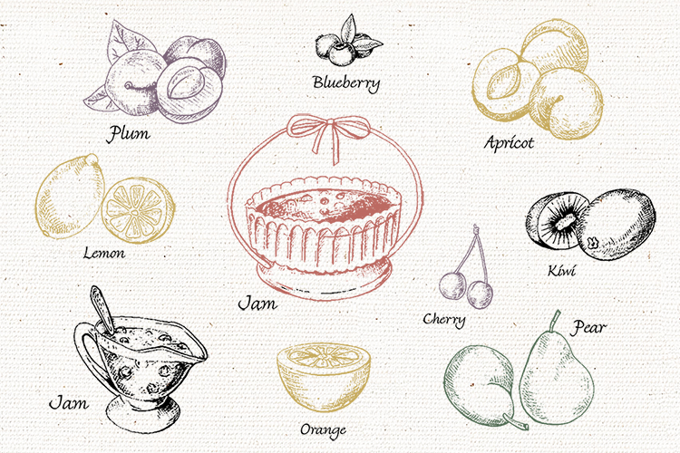 Jams & fruits in vector example image 2