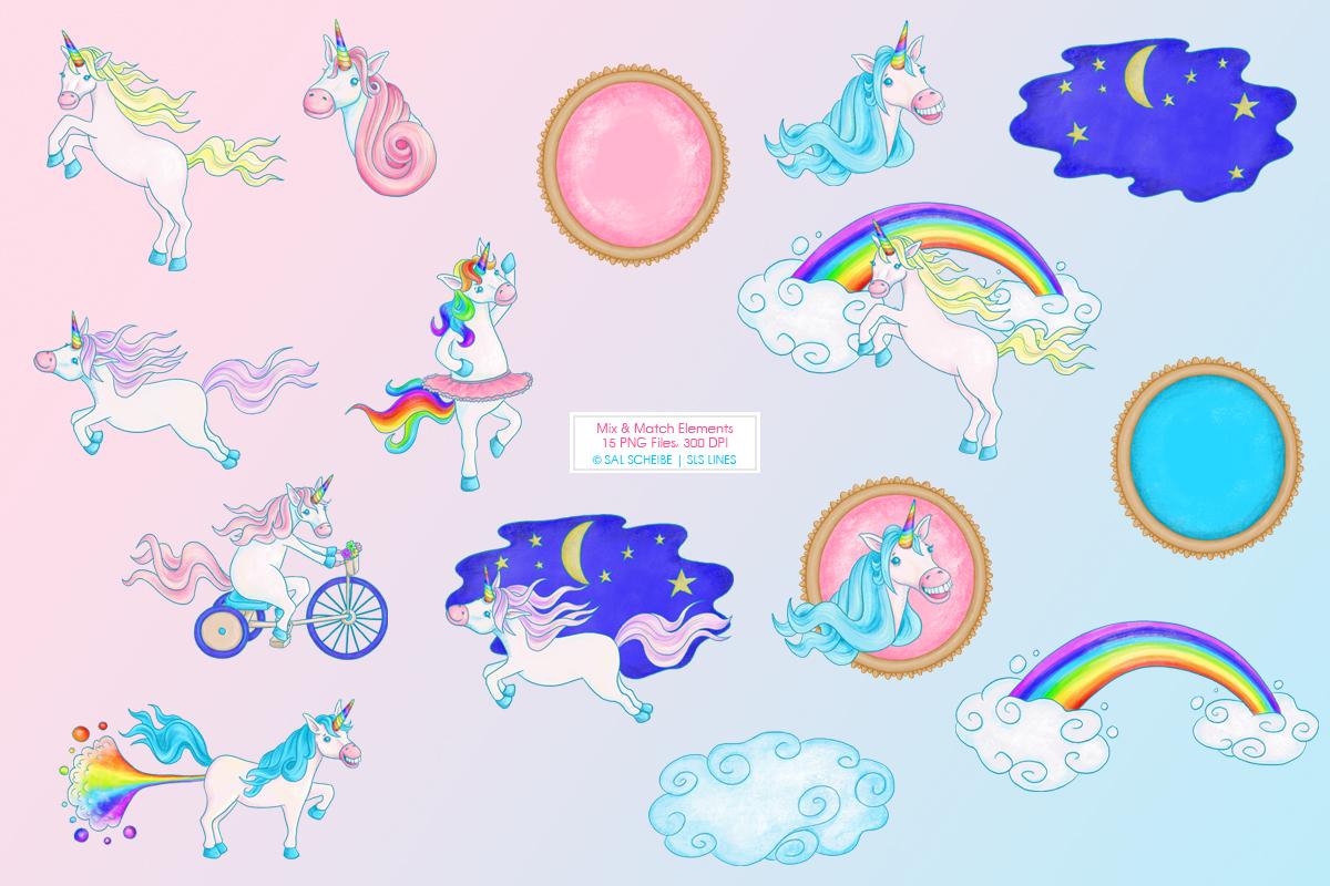 Rainbow Unicorn Illustrations, PNG files example image 2
