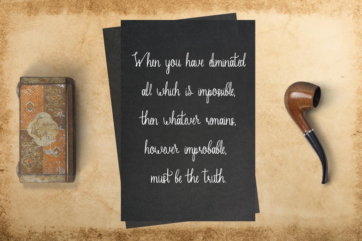 Sherlock calligraphy script font example image 3