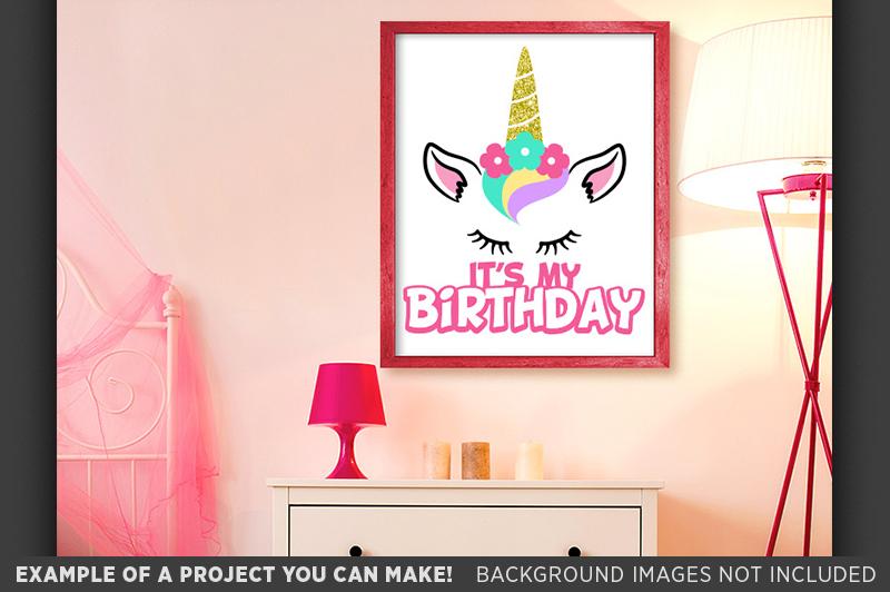 Its My Birthday Unicorn Glitter Shirt Design SVG File - 1059 example image 3