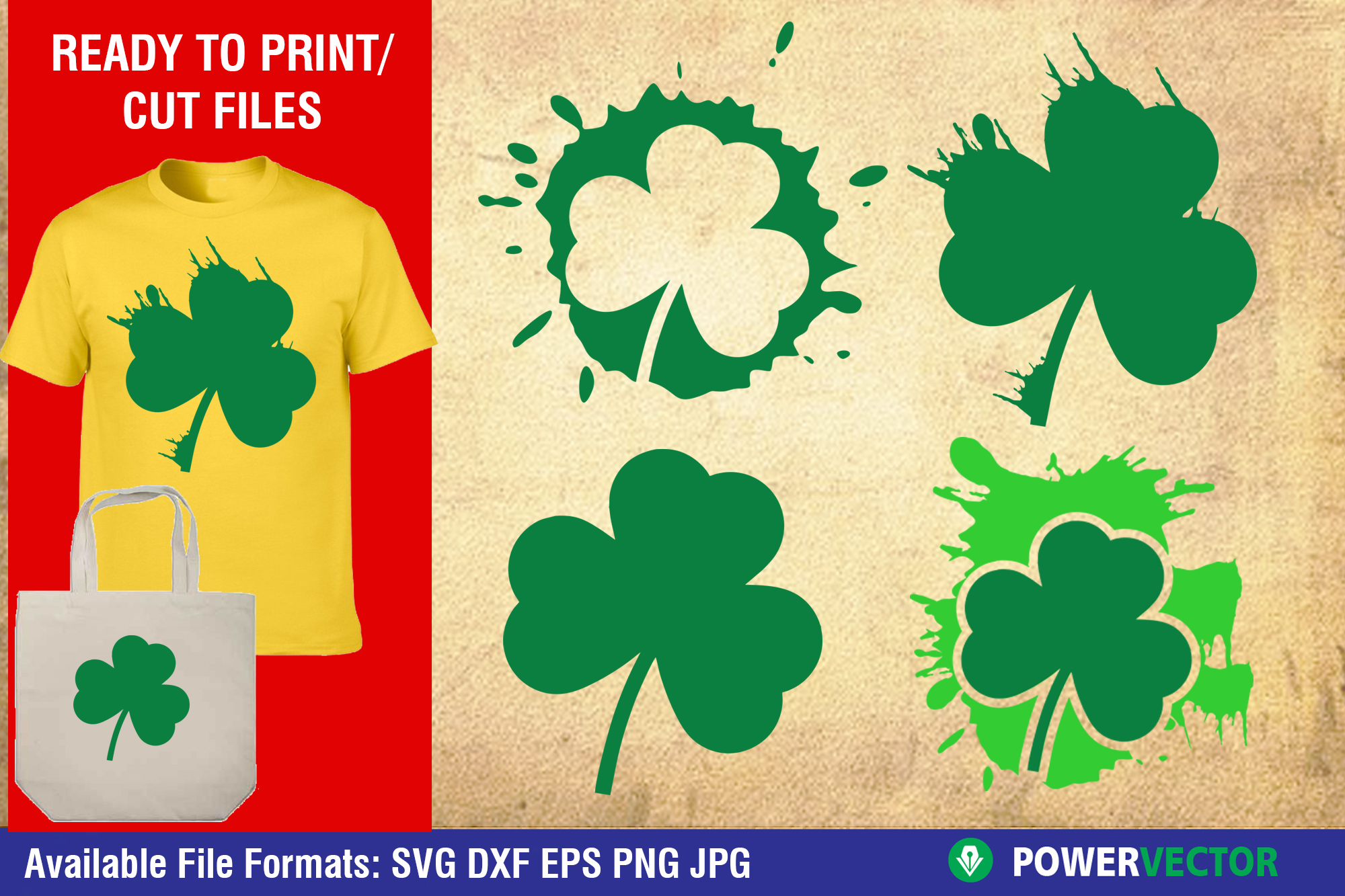 Saint Patricks Day Clipart   Clover Leaf Svg, Dxf Cut Files example image 1