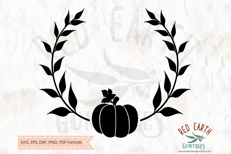 Pumpkin Laurel, Fall autumn pumpkin wreath SVG,DXF,PNG,EPS example image 1