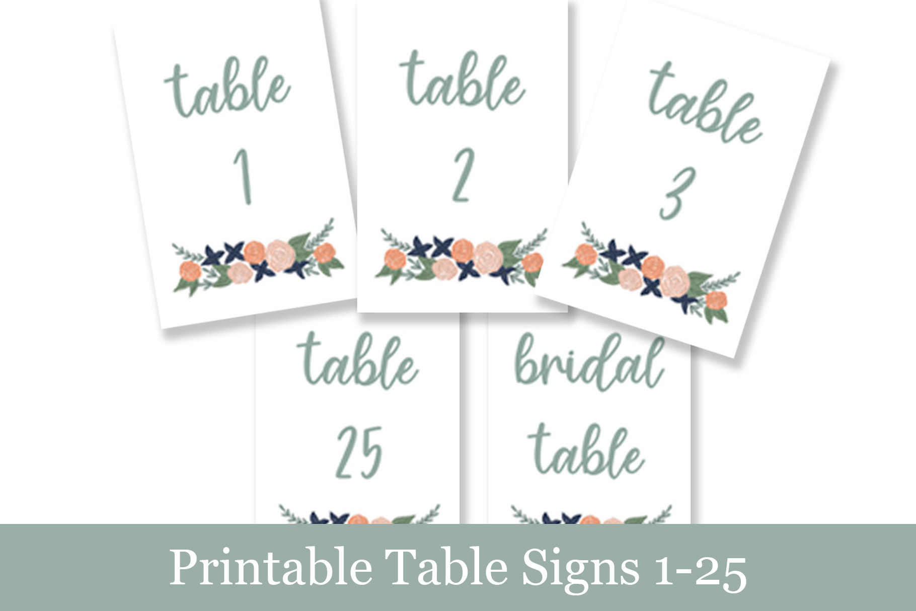 graphic about Printable Table Number identified as Coral Floral Desk Figures, Printable Wedding day Indicators
