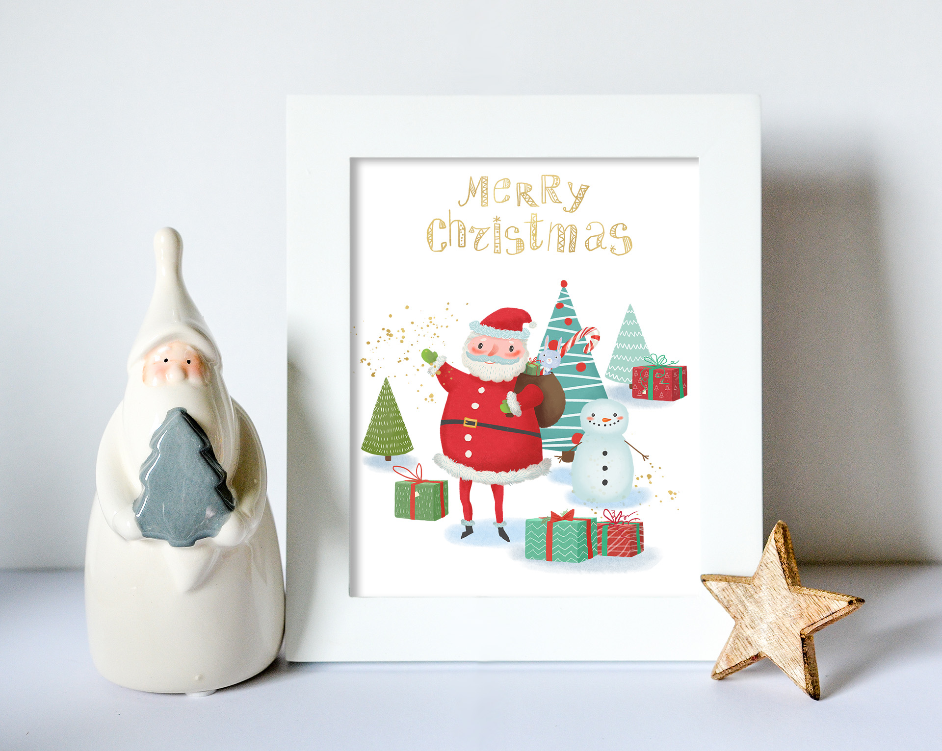 Merry Christmas clipart pack with Santa and digital paper example image 6