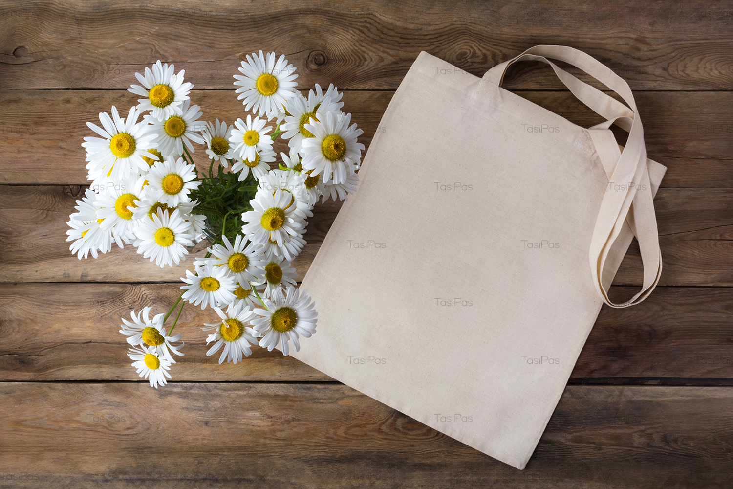 Rustic tote bag mockup with daisy example image 5