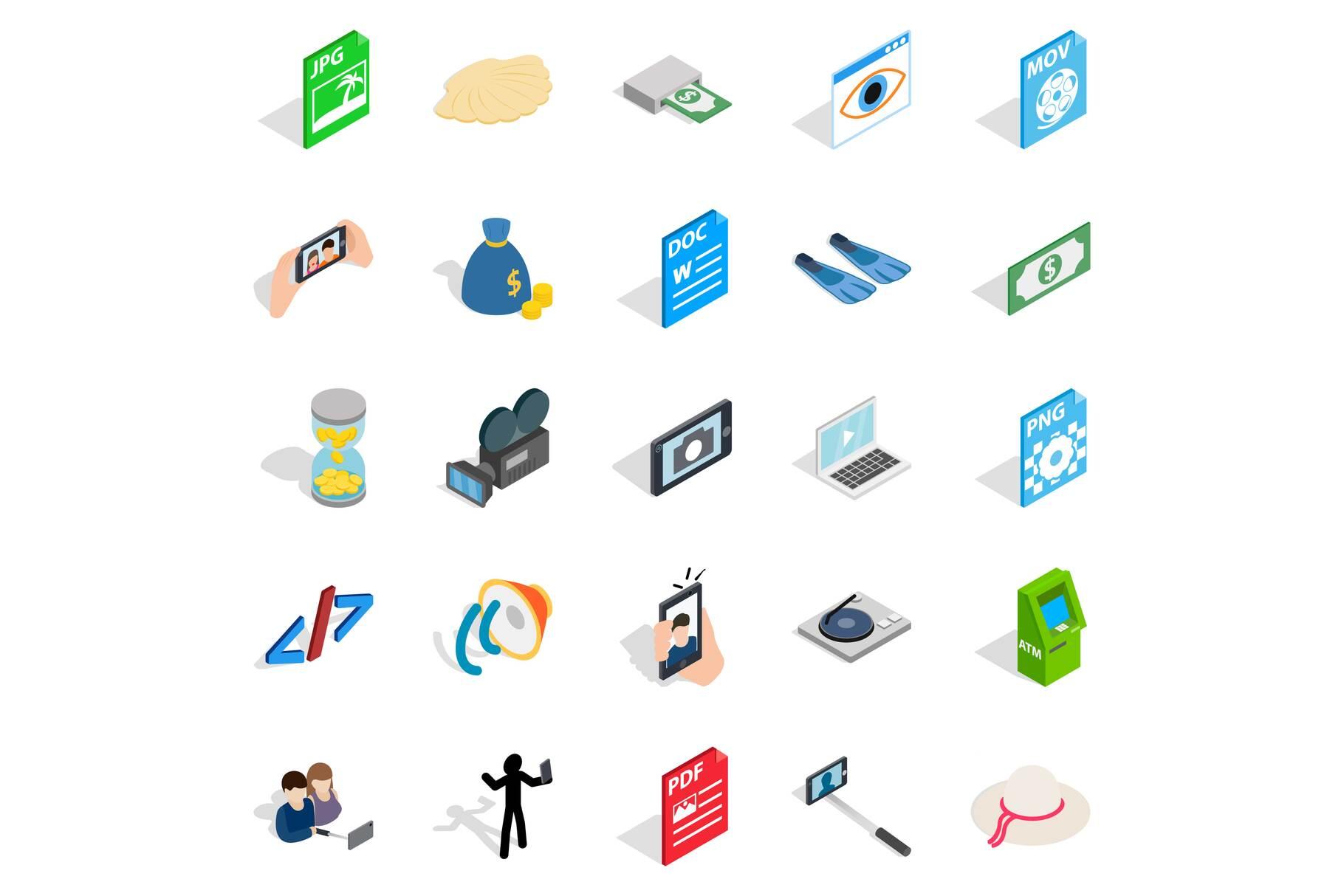 Webcam icons set, isometric style example image 1